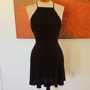Reformation black criss cross mini dress